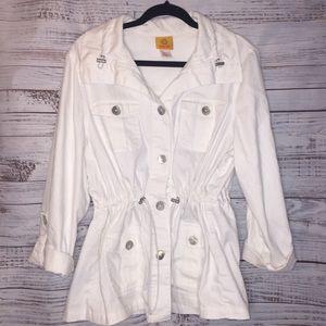 Ruby Rd. White Trench coat jacket like new sz 16
